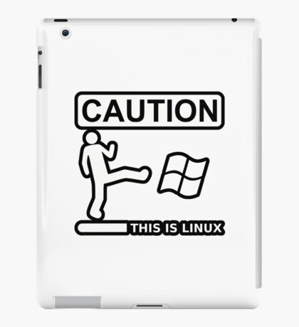 caution this is sparta linux iPad Case/Skin
