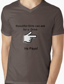 Drink and Pay Mens V-Neck T-Shirt