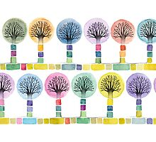 watercolor trees Photographic Print