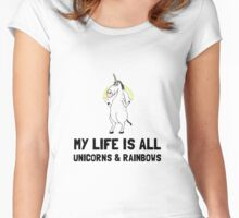 Unicorns And Rainbows Women's Fitted Scoop T-Shirt
