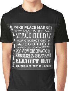 Seattle Famous Landmarks Graphic T-Shirt