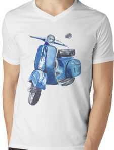 Blue Vespa Mens V-Neck T-Shirt