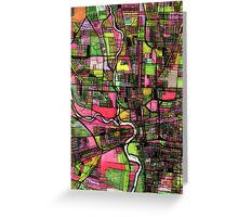 Abstract Map of Columbus OH Greeting Card