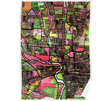 Abstract Map of Columbus OH Poster
