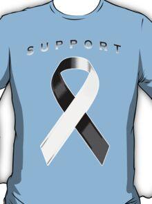 Black & White Awareness Ribbon of Support T-Shirt