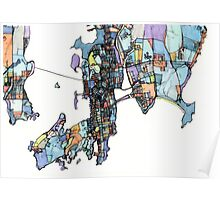 Abstract Map of Newport RI Poster
