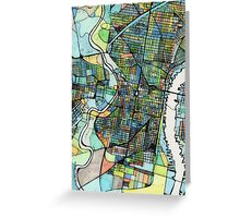 Abstract Map of Philadelphia PA Greeting Card