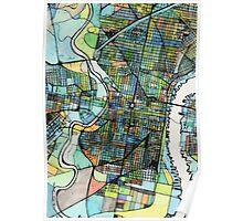 Abstract Map of Philadelphia PA Poster