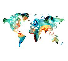 Map of The World 11 -Colorful Abstract Art Photographic Print