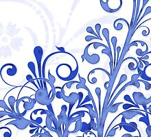 royal blue and white abstract girly floral digital art by wasootch