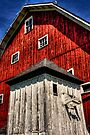 Red Barn with White Shed by Roger Passman