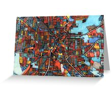 Abstract Map of San Antonio TX Greeting Card