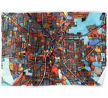 Abstract Map of San Antonio TX Poster