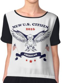 New U.S. Citizen Eagle with Flags Chiffon Top