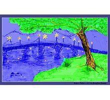 Bridge at Twilight 3 Hot Saturation Photographic Print
