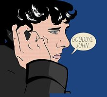 """Goodbye, John"" Sherlock Pop Art Pillow by andersaur"