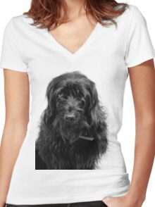 Hang Dog face Women's Fitted V-Neck T-Shirt