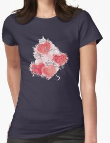 Love Cats Abstract Watercolor Womens Fitted T-Shirt