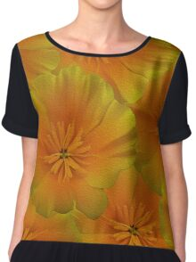 Poppy Flower Floral oil painting Chiffon Top