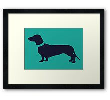 Navy Sausage Dog  Framed Print