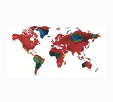World Map 12 - Colorful Red Map by Sharon Cummings Kids Tee