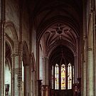 Nave and altar St Michaels Cathedral Dijon France 198405010029 by Fred Mitchell