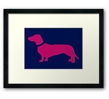 Hot Pink Sausage Dog Framed Print