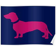 Hot Pink Sausage Dog Poster