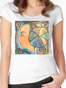 The girl with a balloon Women's Fitted Scoop T-Shirt