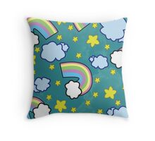 Stars And Rainbows Pattern Throw Pillow