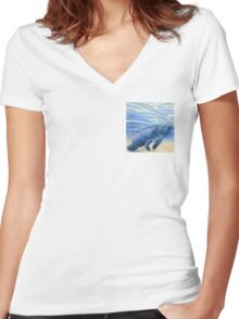 Manatee 5x5 Colored Pencil Drawing Women's Fitted V-Neck T-Shirt