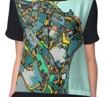 Abstract Map of Dun Laoghaire, Ireland Chiffon Top