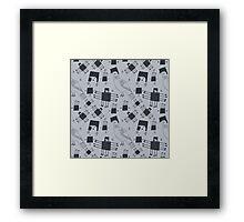 Monochrome graphic pigeons Framed Print