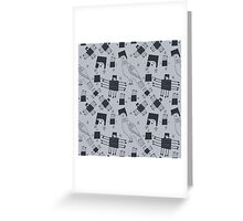 Monochrome graphic pigeons Greeting Card