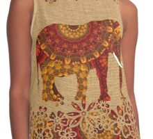 Beautiful Patterned Indian Elephant Rustic Rich Colors Contrast Tank