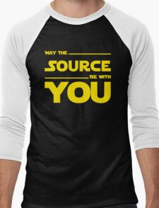 May The Source Be With You - Stars Wars Parody for Programmers Men's Baseball ¾ T-Shirt