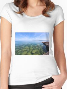 Serenity in Lake Superior Women's Fitted Scoop T-Shirt