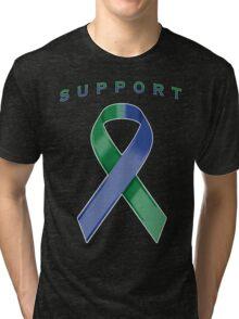 Green & Blue Awareness Ribbon of Support Tri-blend T-Shirt