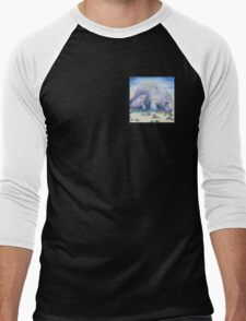 Manatee Mom and Baby 5x5 Colored Pencil Men's Baseball ¾ T-Shirt