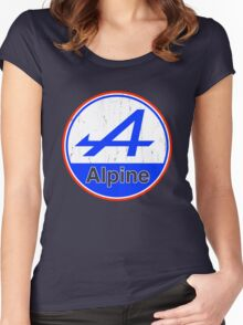 Alpine Cutout French Color Graphic Women's Fitted Scoop T-Shirt