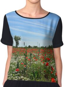 Poppy Field Near Cividale Chiffon Top