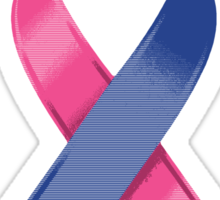 Pink & Blue Awareness Ribbon of Support Sticker