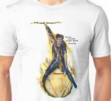 Nikola Tesla Riding The Light Bulb transparent background Unisex T-Shirt