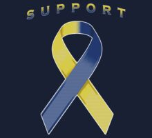 Yellow & Blue Awareness Ribbon of Support by adamcampen