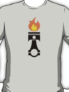 Flaming Piston (fire black) T-Shirt