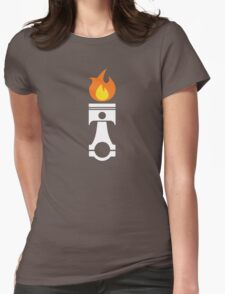 Flaming Piston (fire wht) Womens Fitted T-Shirt