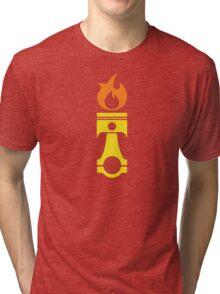 Flaming Piston (fire) Tri-blend T-Shirt