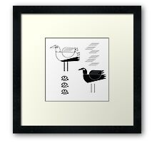 Black and white seagulls Framed Print