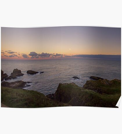 Sunset on Cruden Bay, Slains Castle - North East coast of Aberdeenshire, Scotland Poster