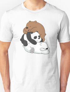 Sleeping Bare Bears - White Unisex T-Shirt